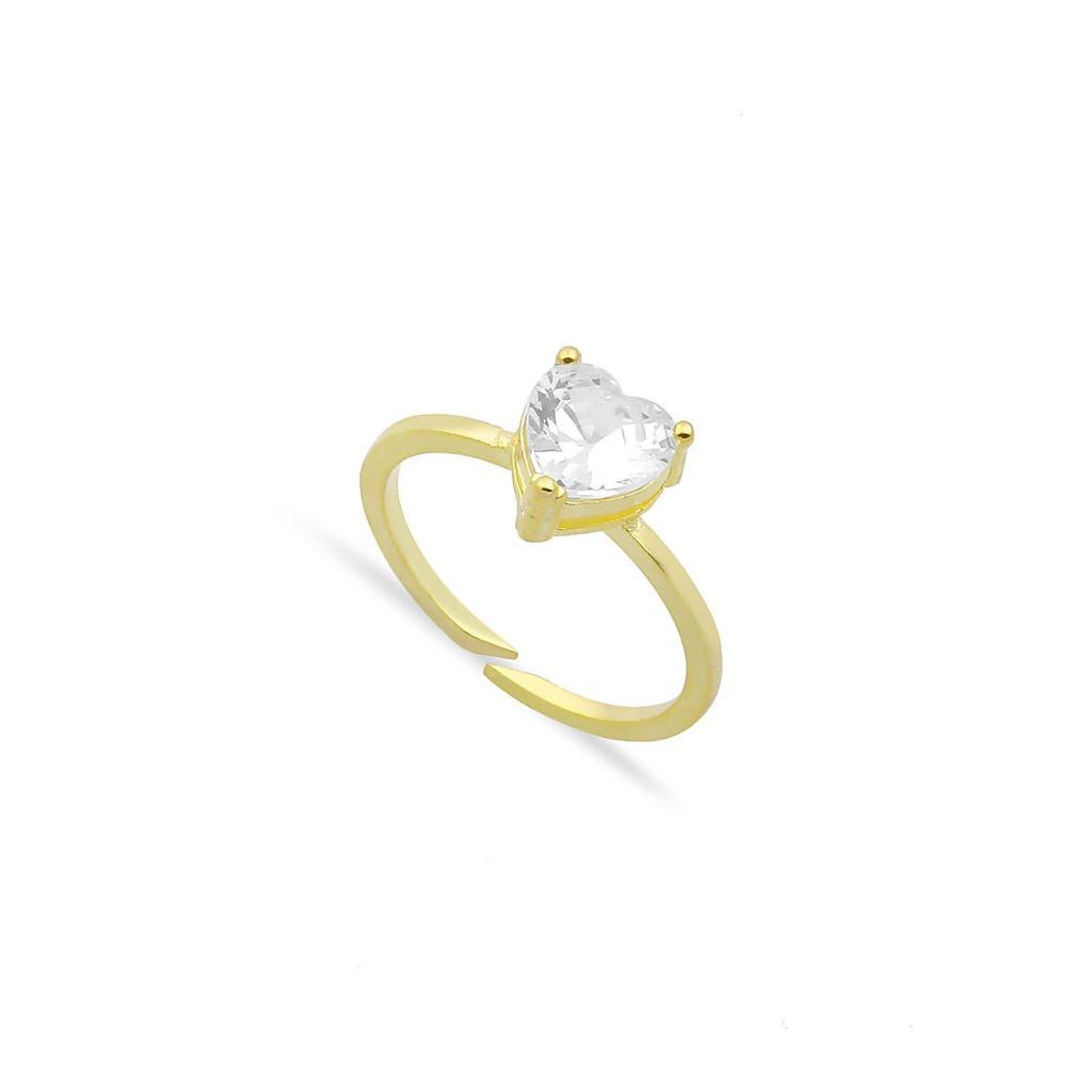 Single Crystal Heart Ring JEWELRY The Sis Kiss Clear