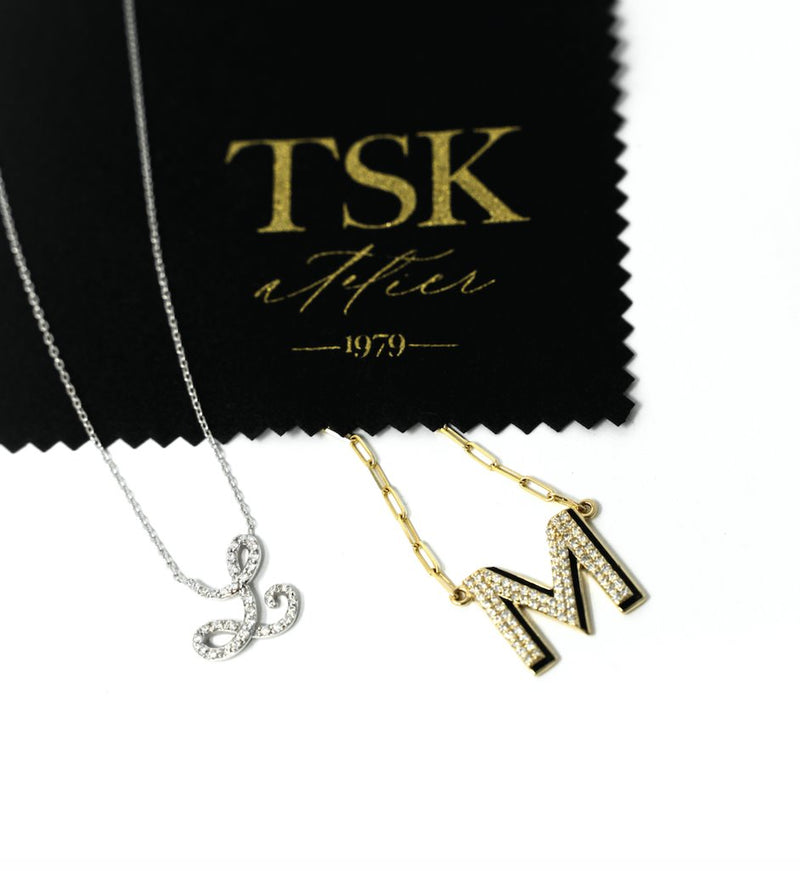 TSK 5th Avenue Diamond Initial Necklace JEWELRY The Sis Kiss