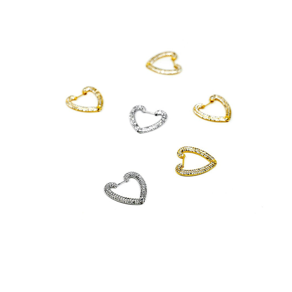 Sparkle Heart Huggie Earrings JEWELRY The Sis Kiss