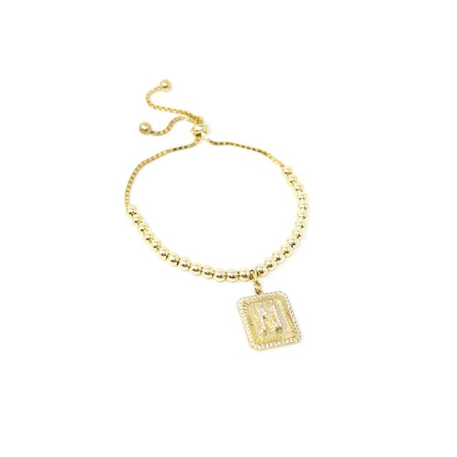 Square Initial Bracelet in Gold JEWELRY The Sis Kiss