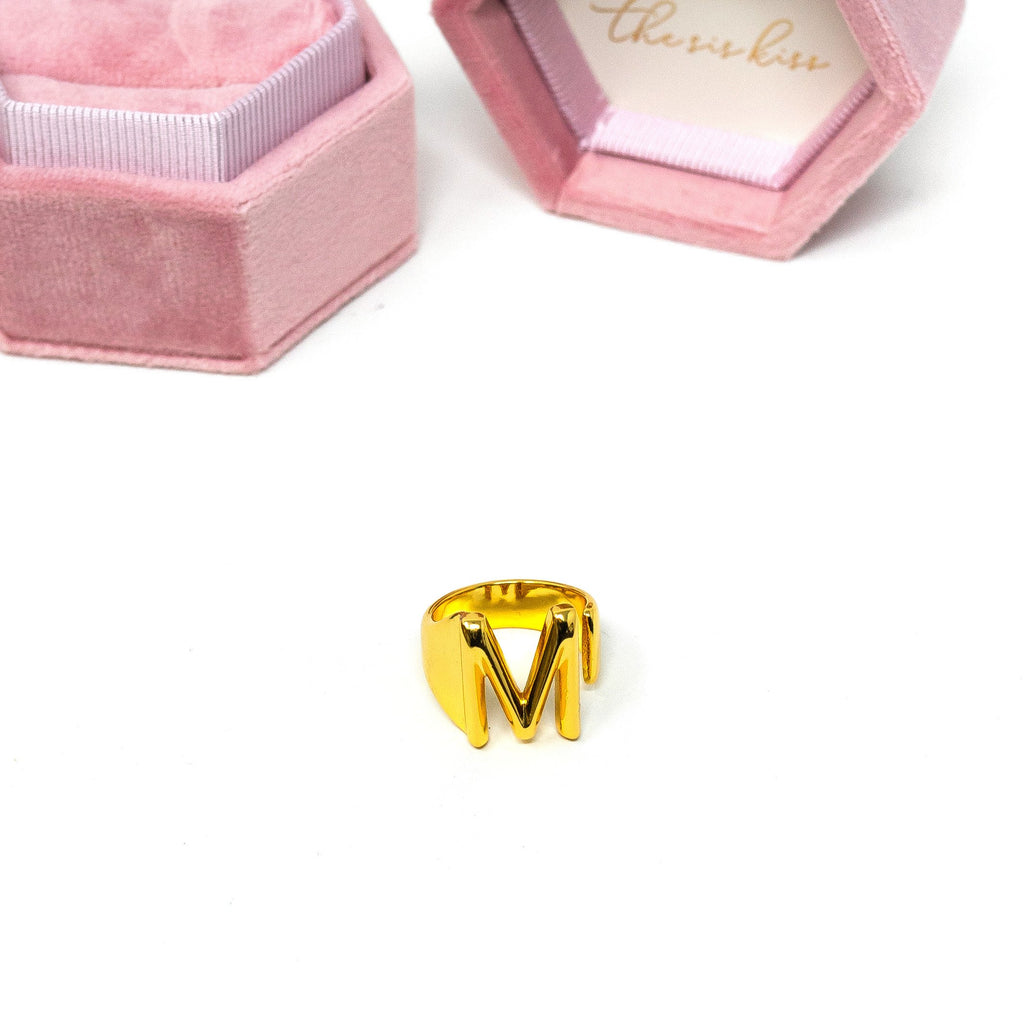 Statement Initial Ring in Bold Block JEWELRY The Sis Kiss
