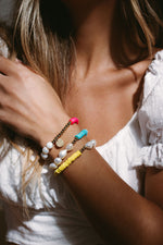 Pearl and Clay Disk Bracelets JEWELRY The Sis Kiss
