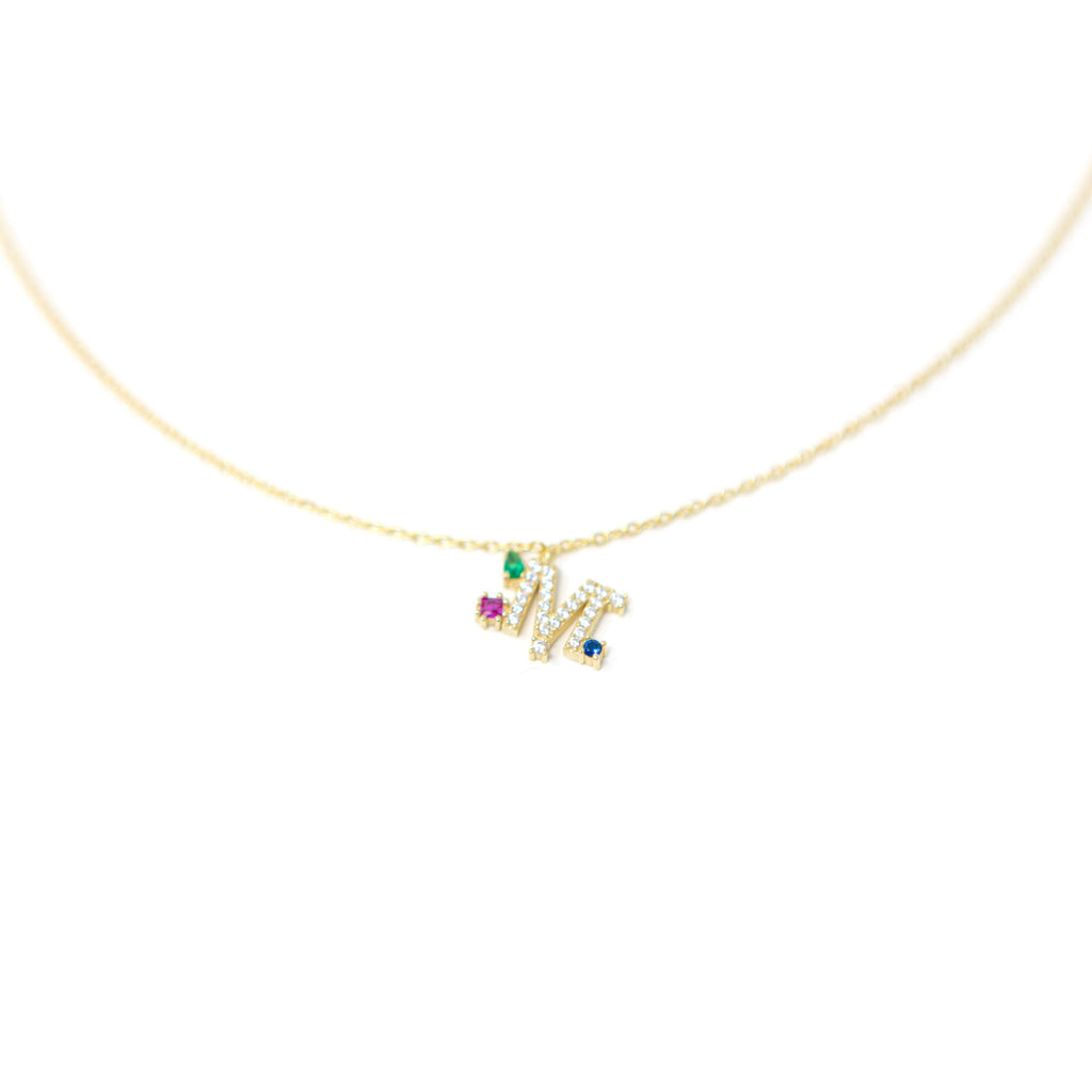 Darling Multi Jewel Initial Necklace necklace The Sis Kiss