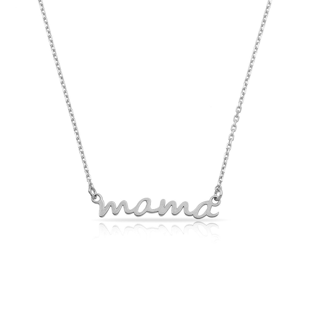 TSK 14k Gold Mama Script Necklace JEWELRY The Sis Kiss 14k White Gold