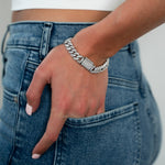 Silver Crystal Cuban Chain Bracelet JEWELRY The Sis Kiss