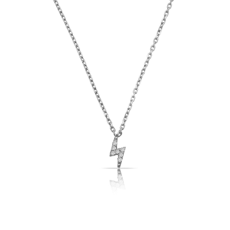 TSK Diamond Bolt Necklace JEWELRY The Sis Kiss 14k White Gold