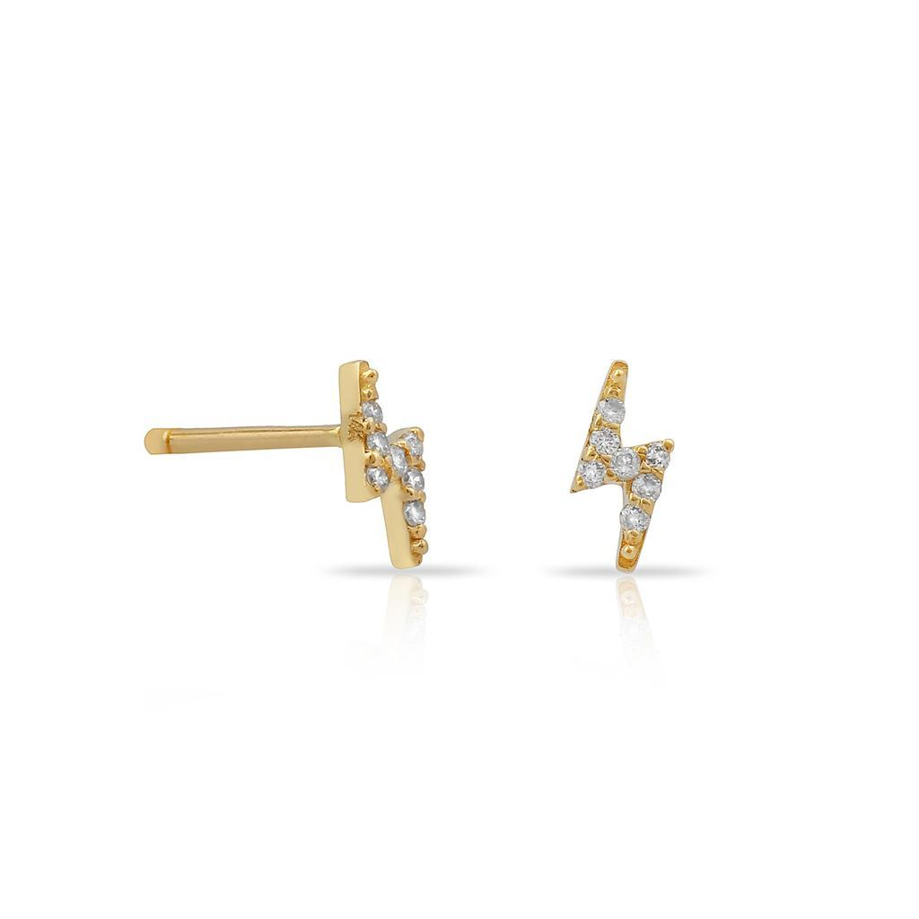 TSK Diamond Bolt Stud Earrings JEWELRY The Sis Kiss 14k Gold
