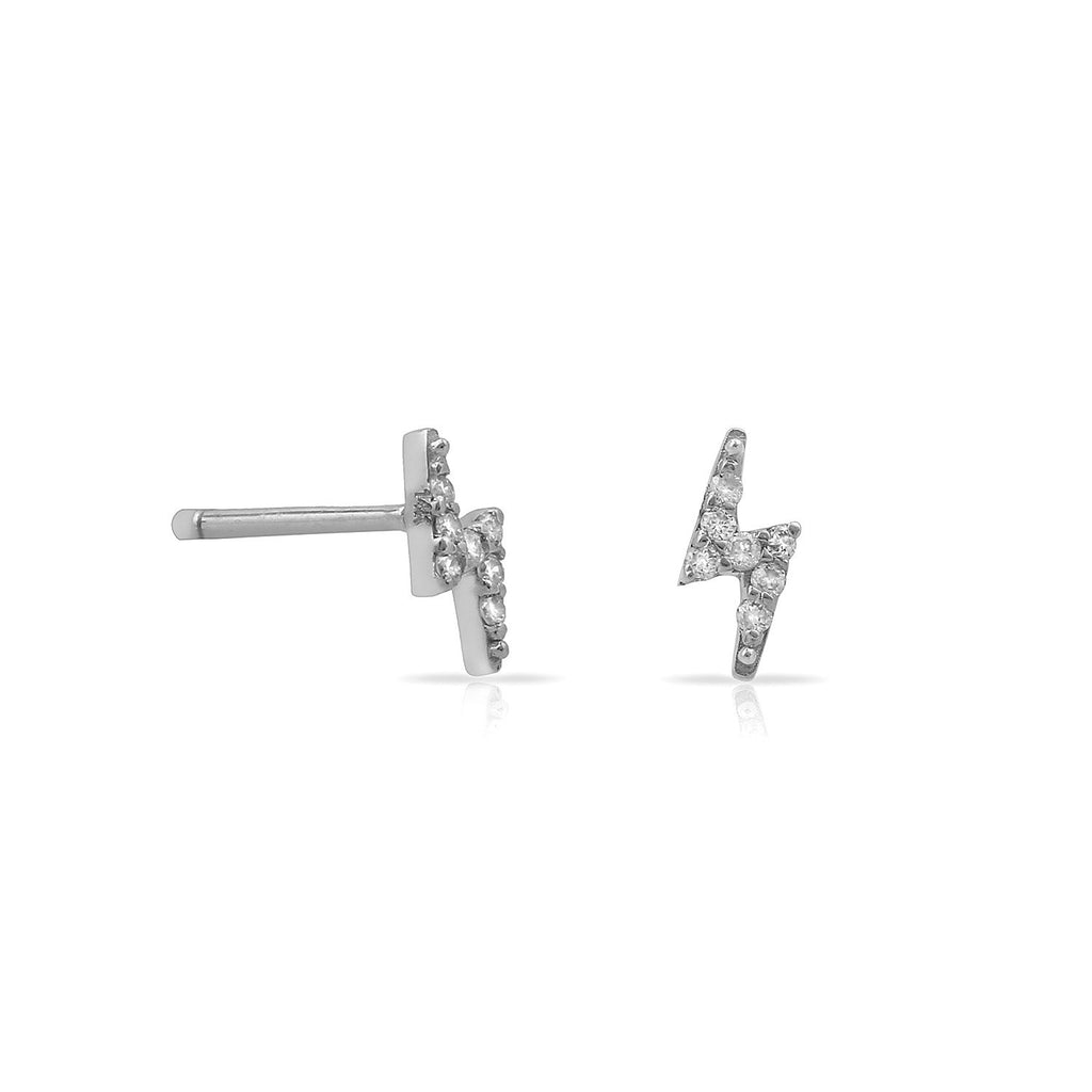 TSK Diamond Bolt Stud Earrings JEWELRY The Sis Kiss 14k White Gold
