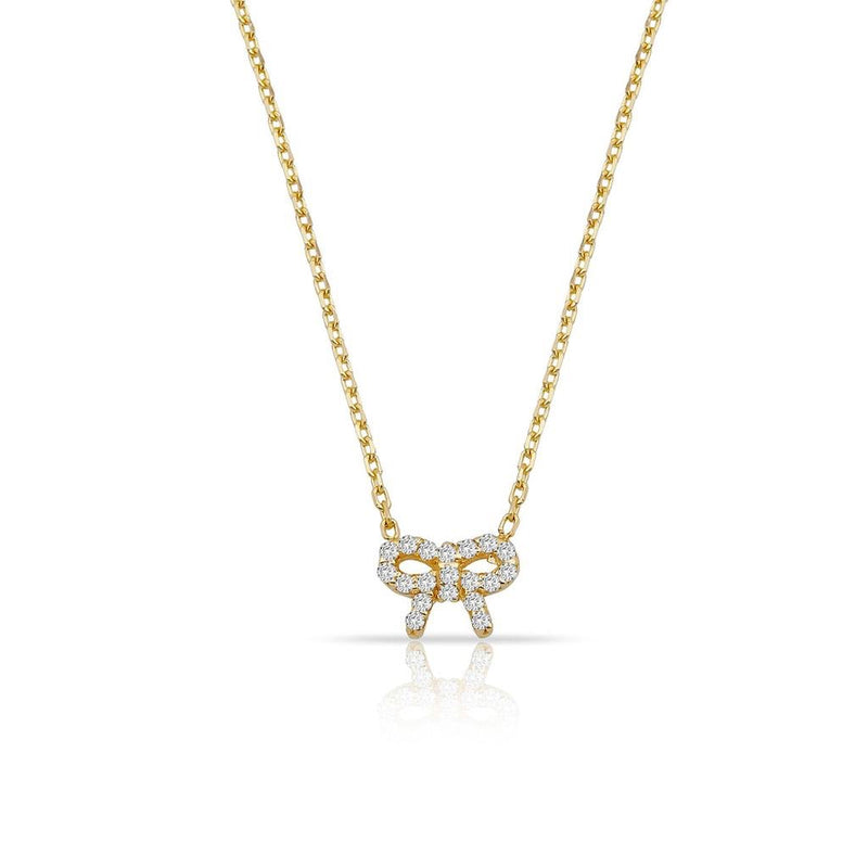 TSK Diamond Bow Necklace JEWELRY The Sis Kiss 14k Gold