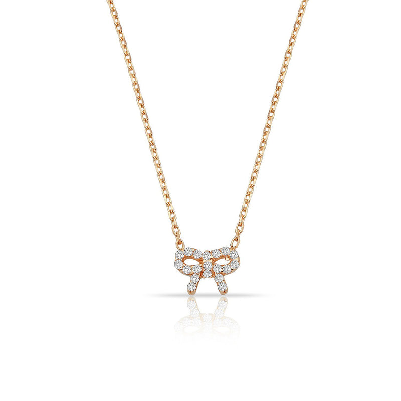 TSK Diamond Bow Necklace JEWELRY The Sis Kiss 14k Rose Gold