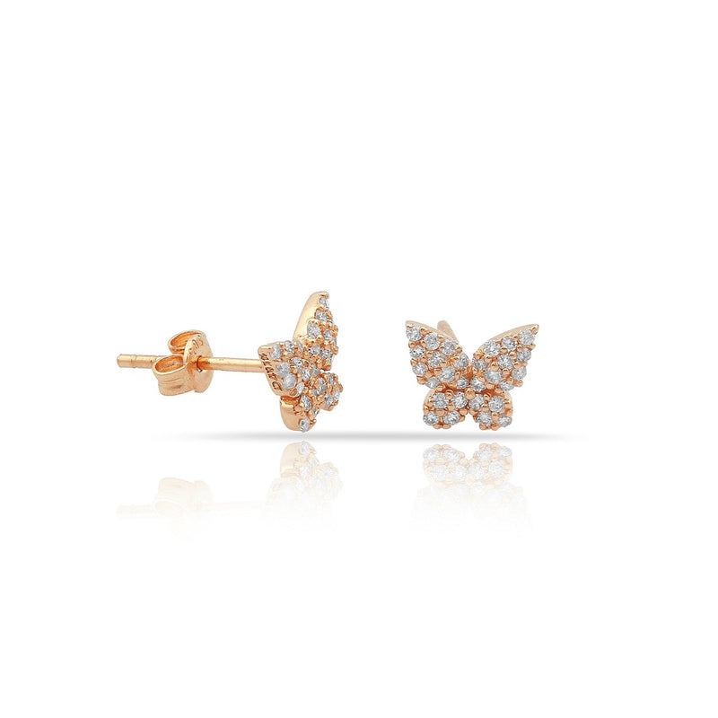TSK Diamond Butterfly Earrings JEWELRY The Sis Kiss 14k Rose Gold