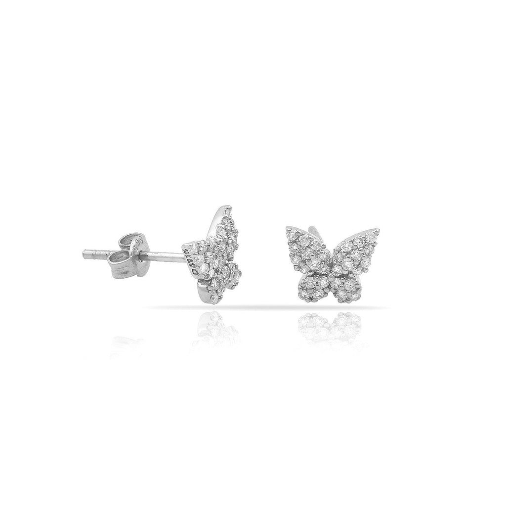 TSK Diamond Butterfly Earrings JEWELRY The Sis Kiss 14k White Gold