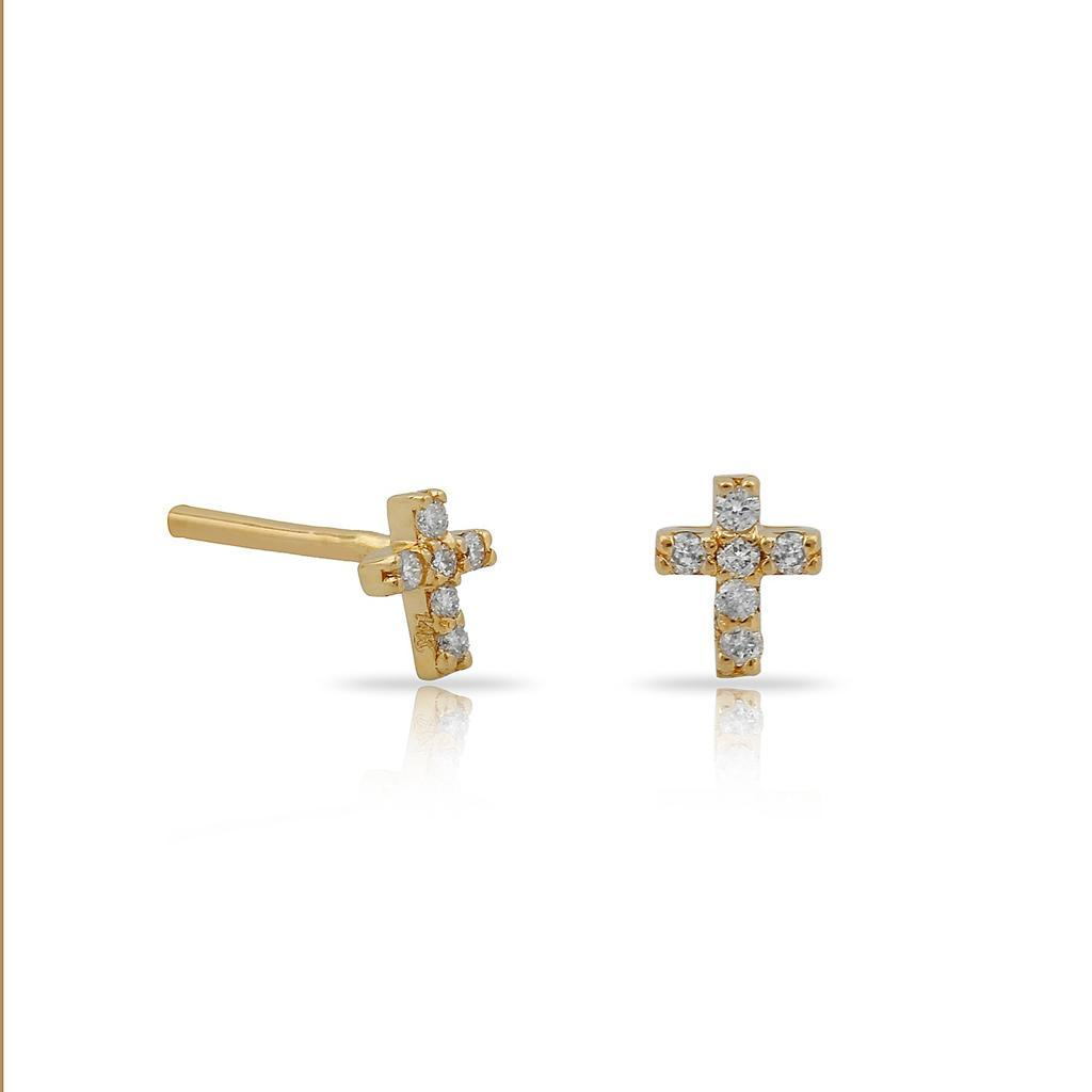TSK Diamond Cross Stud Earrings JEWELRY The Sis Kiss 14k Gold