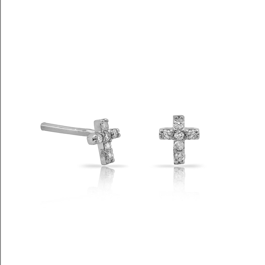 TSK Diamond Cross Stud Earrings JEWELRY The Sis Kiss 14k White Gold