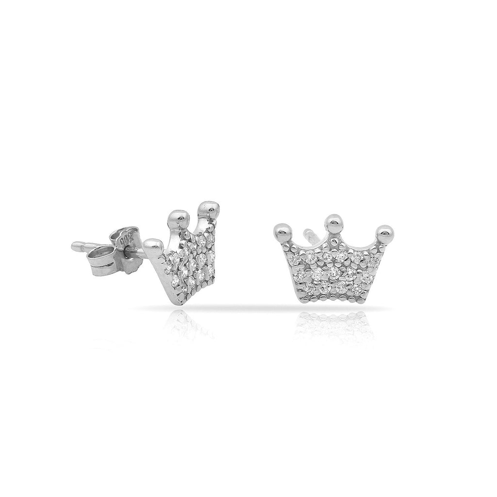 TSK Diamond Crown Studs JEWELRY The Sis Kiss 14k White Gold