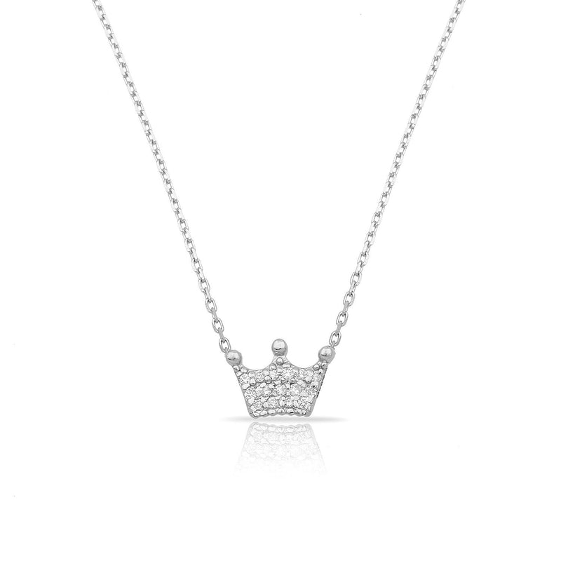TSK Diamond Crown Necklace JEWELRY The Sis Kiss 14k White Gold
