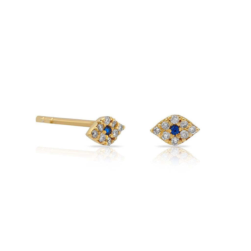 TSK Diamond Evil Eye Stud Earrings JEWELRY The Sis Kiss 14k Gold