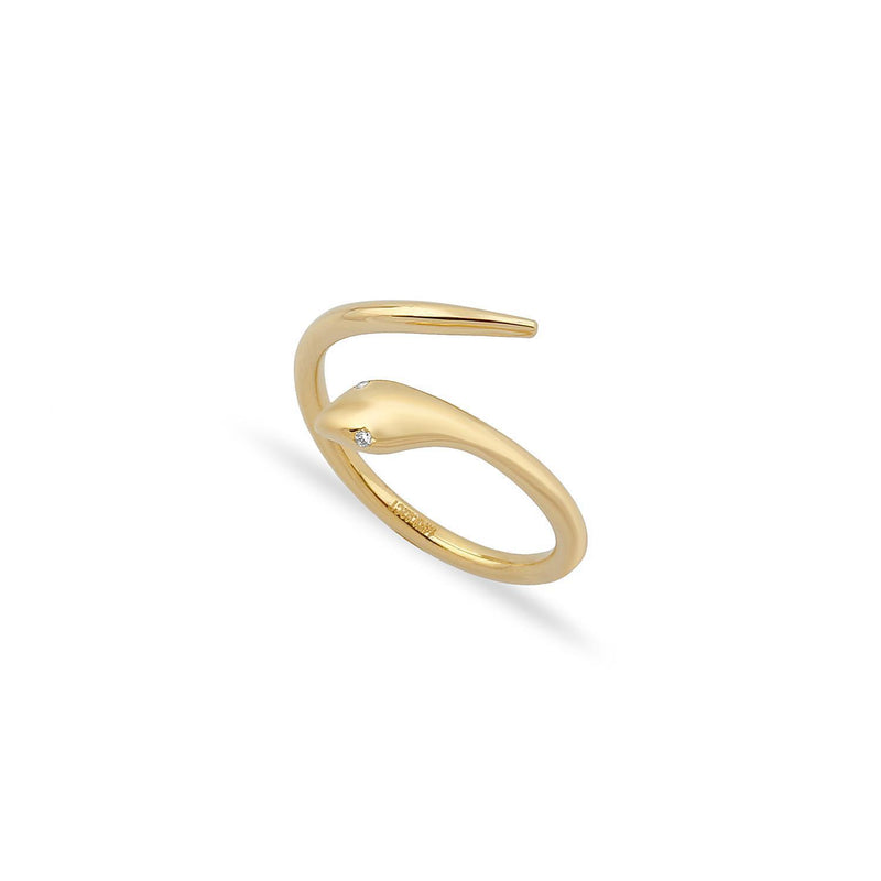 TSK Diamond Eyes Serpent Ring JEWELRY The Sis Kiss 5 14k Gold