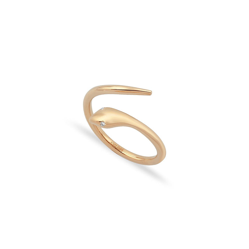 TSK Diamond Eyes Serpent Ring JEWELRY The Sis Kiss 5 14k Rose Gold