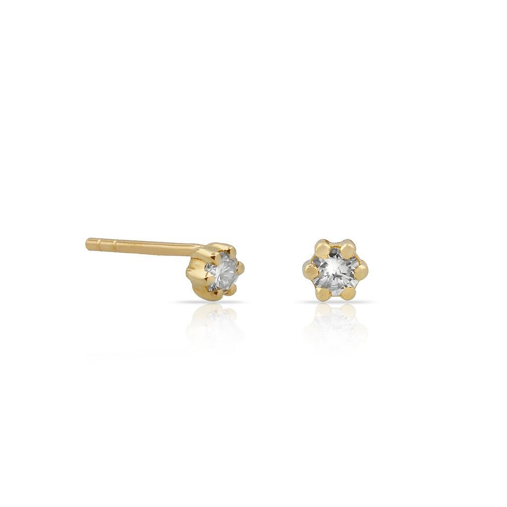 TSK Diamond Stud Earrings JEWELRY The Sis Kiss 14k Gold
