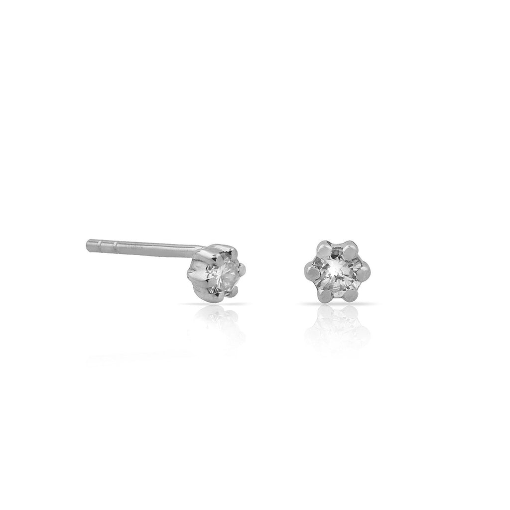 TSK Diamond Stud Earrings JEWELRY The Sis Kiss 14k White Gold