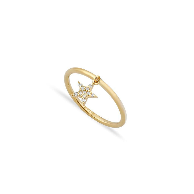 TSK Diamond Star Charm Ring JEWELRY The Sis Kiss 14k Gold 5