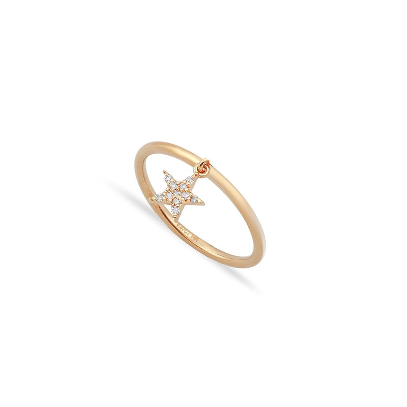 TSK Diamond Star Charm Ring JEWELRY The Sis Kiss 14k Rose Gold 5