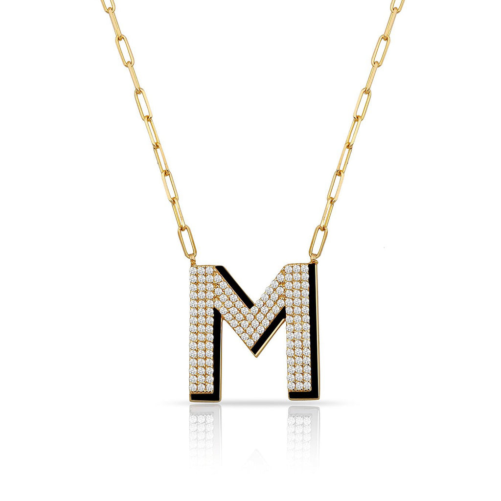 TSK Park Avenue Diamond Initial Necklace JEWELRY The Sis Kiss Black