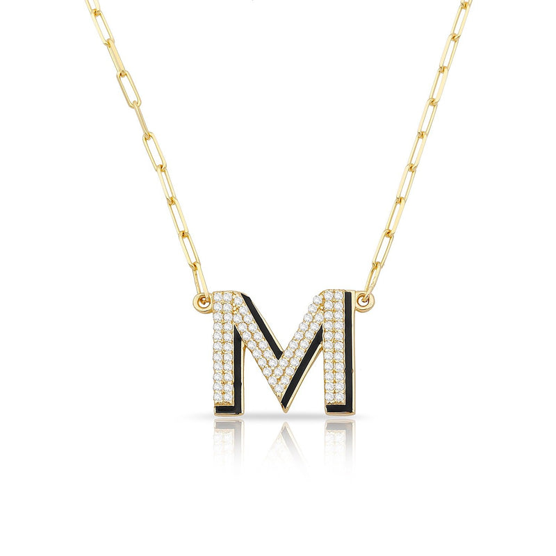 TSK 5th Avenue Diamond Initial Necklace JEWELRY The Sis Kiss 14k Gold