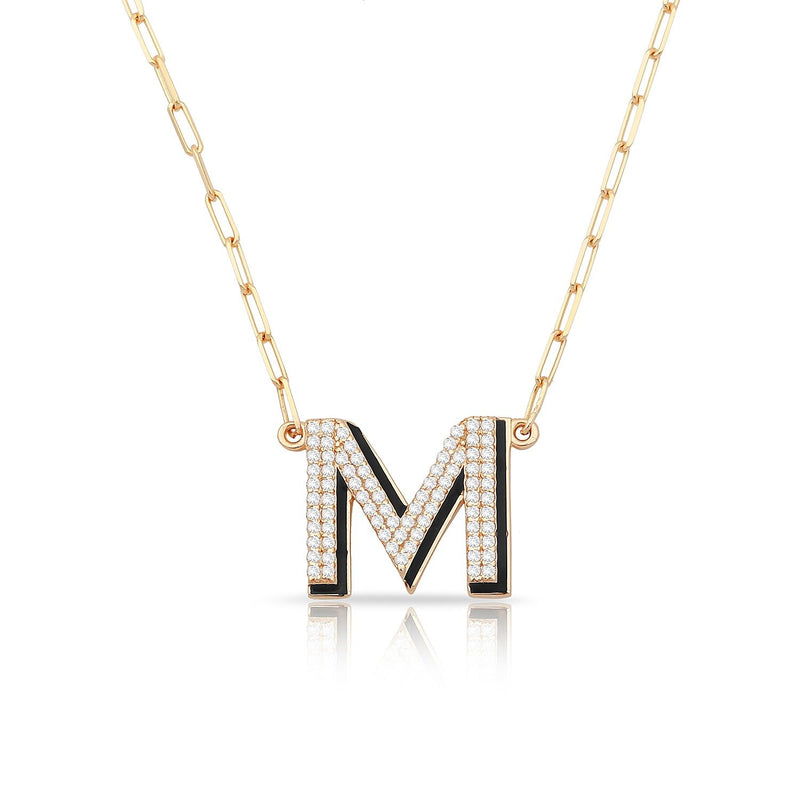 TSK 5th Avenue Diamond Initial Necklace JEWELRY The Sis Kiss 14k Rose Gold