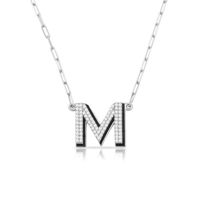 TSK 5th Avenue Diamond Initial Necklace JEWELRY The Sis Kiss 14k White Gold
