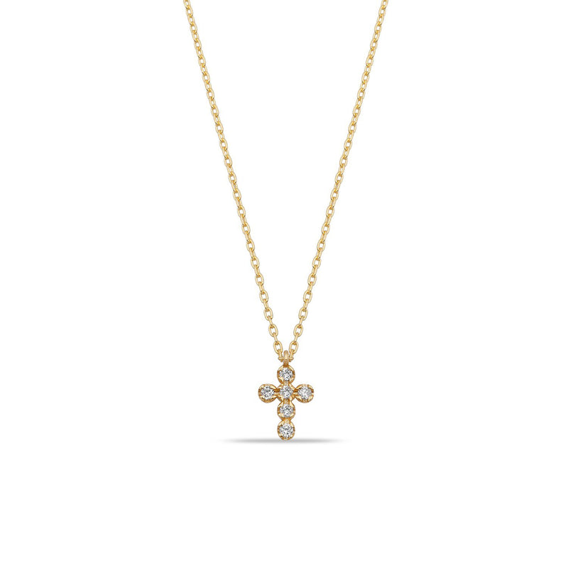 TSK Diamond Cross Necklace JEWELRY The Sis Kiss 14k Gold