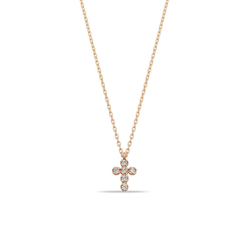 TSK Diamond Cross Necklace JEWELRY The Sis Kiss 14k Rose Gold