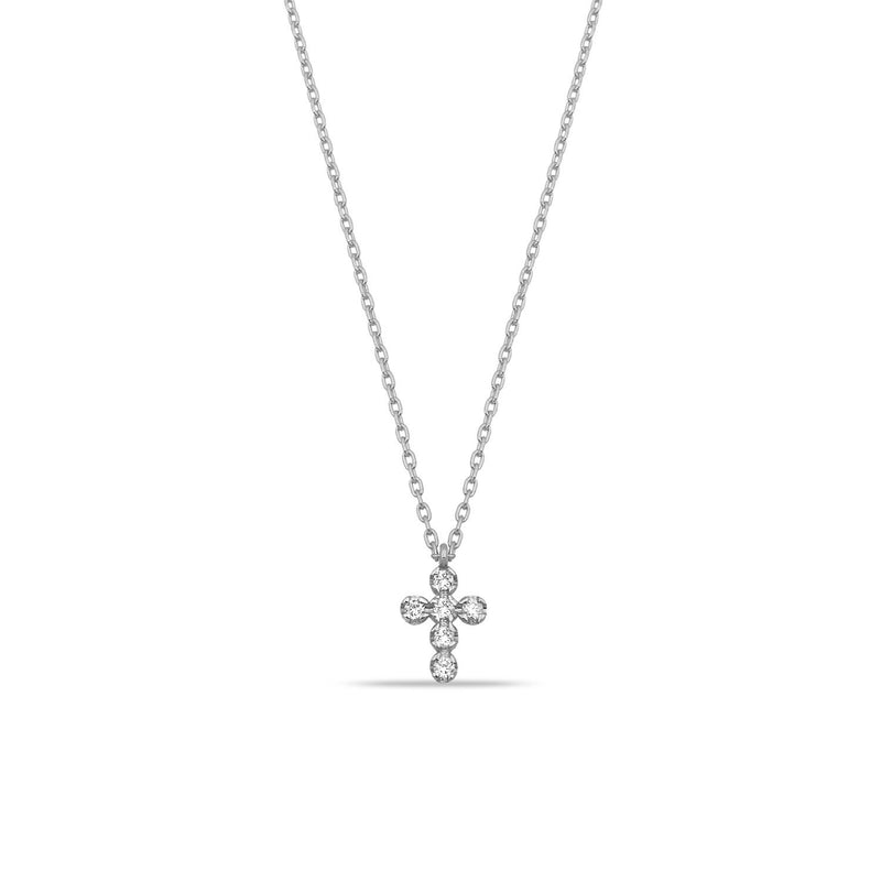 TSK Diamond Cross Necklace JEWELRY The Sis Kiss 14k White Gold