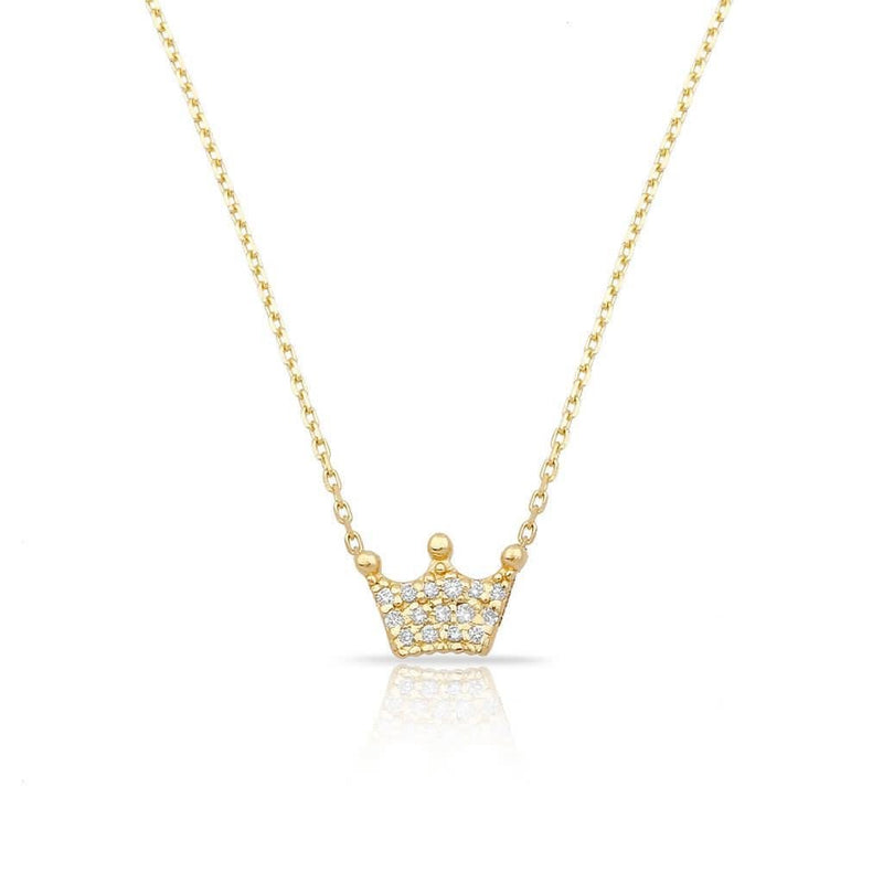 TSK Diamond Crown Necklace JEWELRY The Sis Kiss 14k Gold