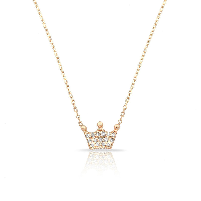 TSK Diamond Crown Necklace JEWELRY The Sis Kiss 14k Rose Gold
