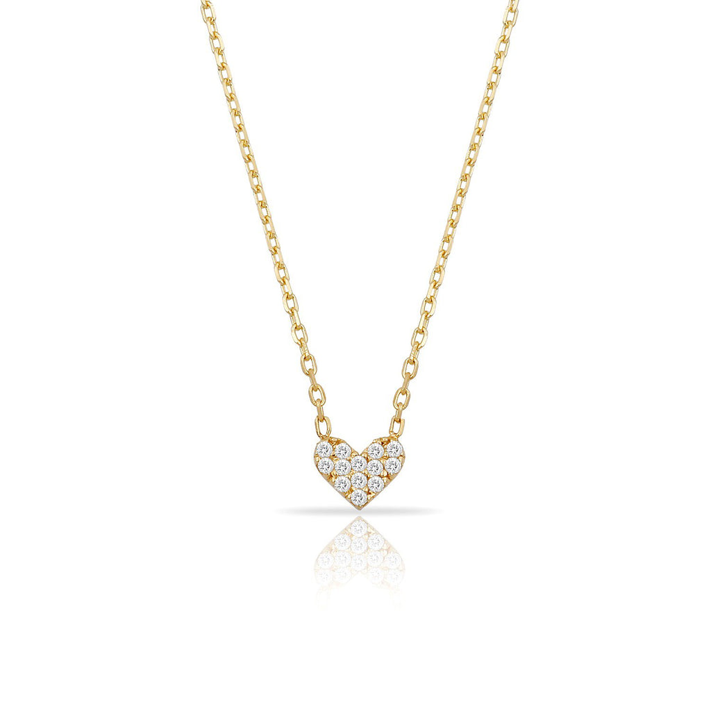 TSK Diamond Heart Necklace JEWELRY The Sis Kiss 14k Gold