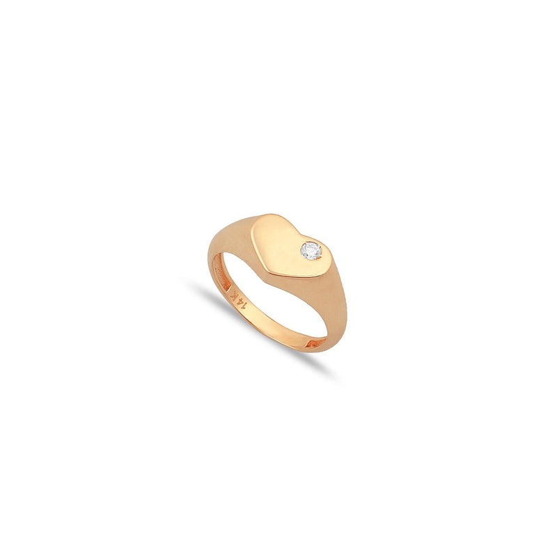 TSK Diamond Heart Pinky Ring JEWELRY The Sis Kiss 3 14k Rose Gold