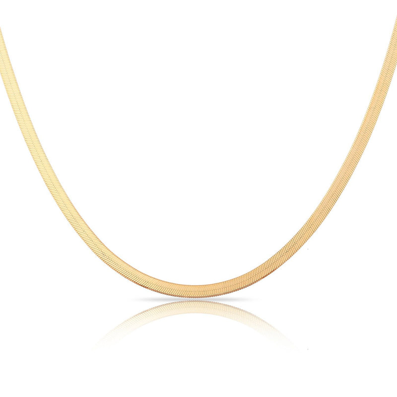 "TSK 14k Gold Herringbone Chain JEWELRY The Sis Kiss 14k Rose Gold 12"" with 4"" extension"