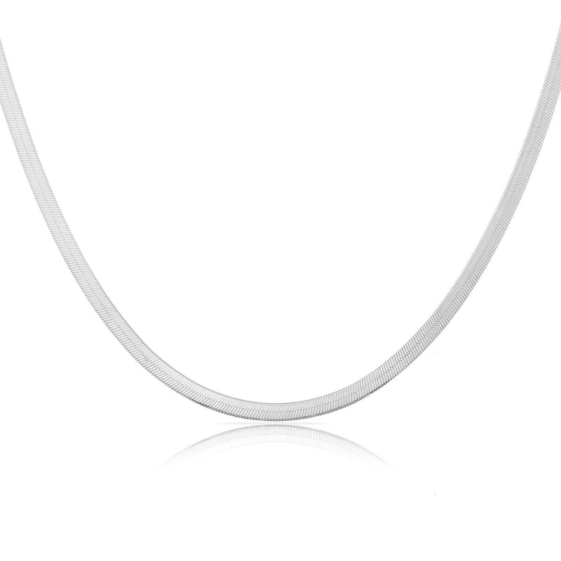 "TSK 14k Gold Herringbone Chain JEWELRY The Sis Kiss 14k White Gold 12"" with 4"" extension"