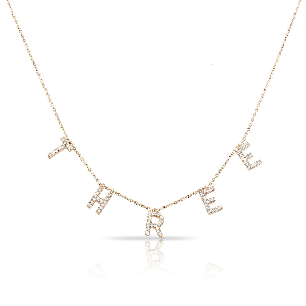 TSK It's All in a Name™ Necklace in 14k Gold with Diamonds JEWELRY The Sis Kiss