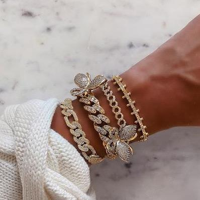 Gold and Crystal Estate Bracelet JEWELRY The Sis Kiss