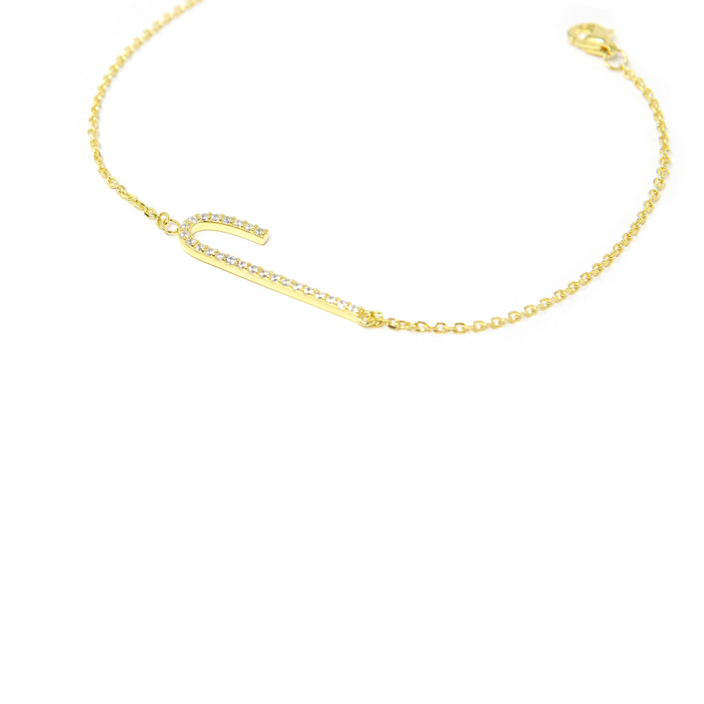 Tall Initial Bracelet JEWELRY The Sis Kiss