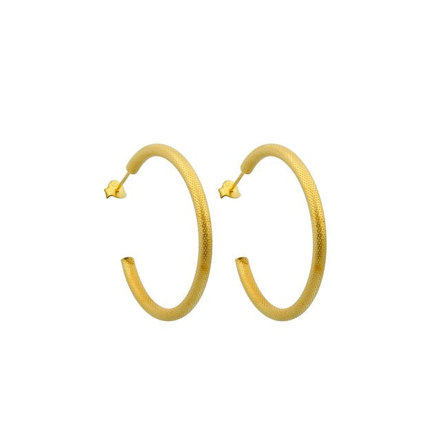 Textured Gold Hoops JEWELRY The Sis Kiss