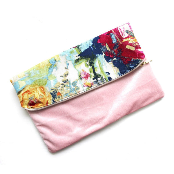 The Fiona Clutch with blush velvet and cotton canvas