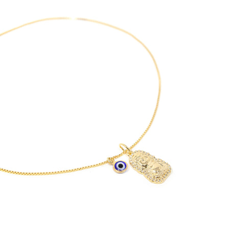 Little Buddha and Evil Eye Charm Choker Necklace
