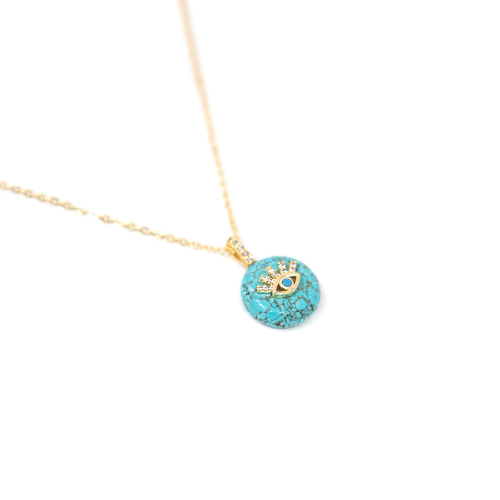 Turquoise and Evil Eye Pendant JEWELRY The Sis Kiss