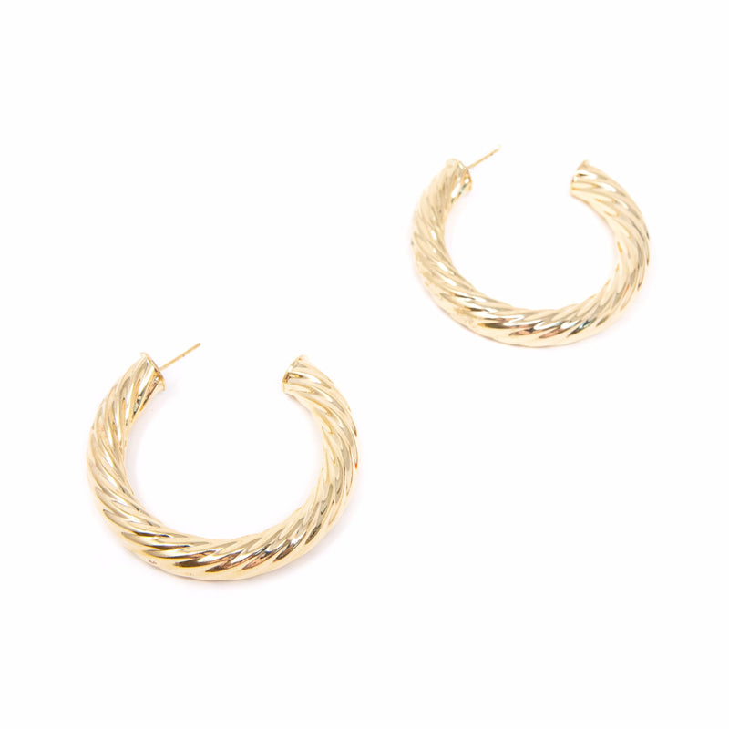 "Gold Twist Hoop Earrings JEWELRY The Sis Kiss Medium (2"")"