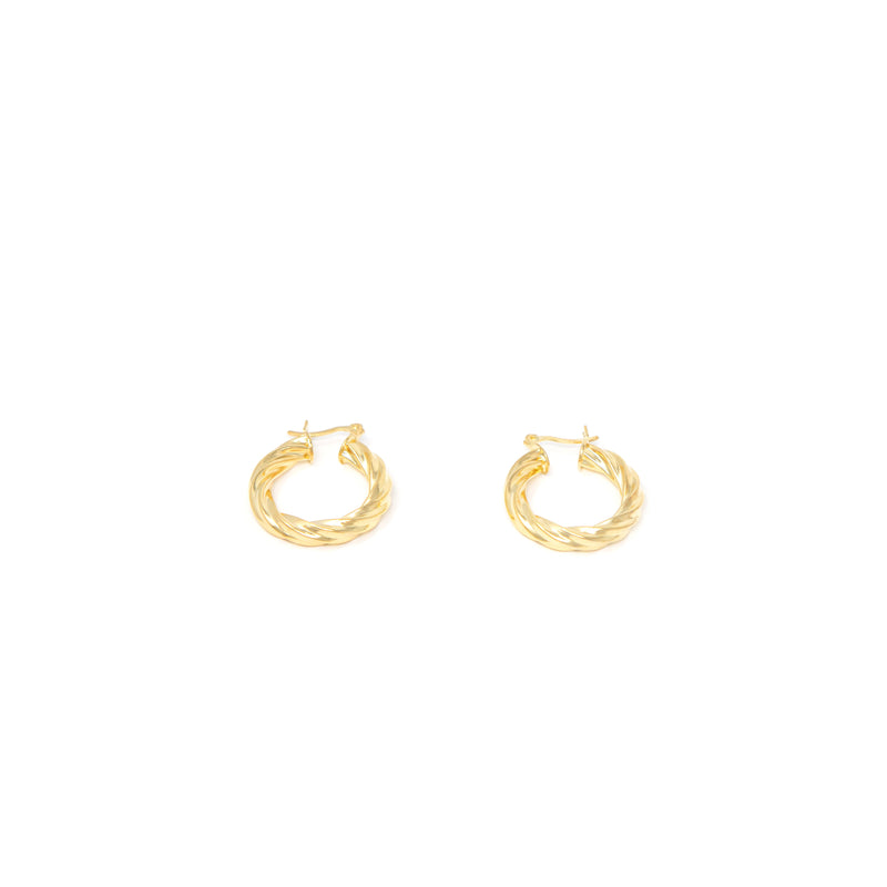 Twisted Gold Hoop Huggie Earrings
