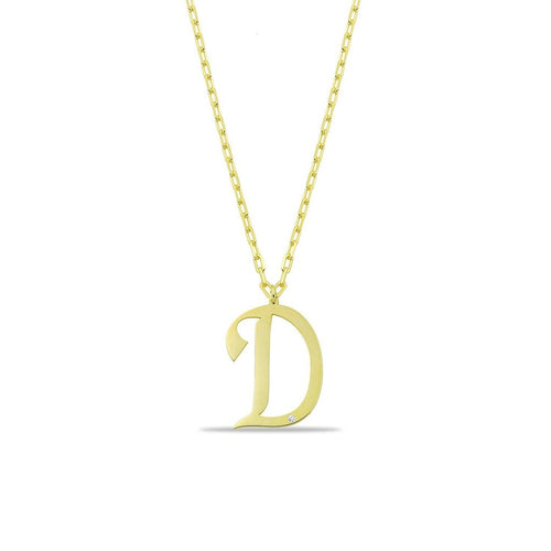 Script Initial with Crystal Necklace PREORDER JEWELRY The Sis Kiss Gold D